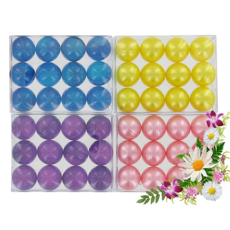 FLEURS: Lot de 4 boîtes de 12 perles d'huile de bain